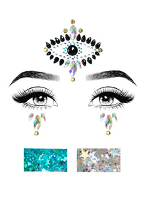 Multicolor Imogen Divinity Adhesive Face Jewels Sticker