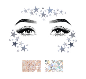Silver Jodie Dream Adhesive Mirror Star and Rhinestone Face Sticker