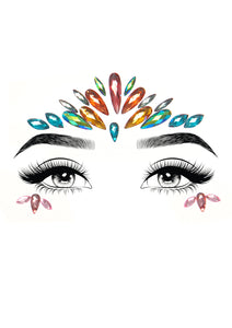 Multicolor Avri Adhesive Face Jewels Sticker