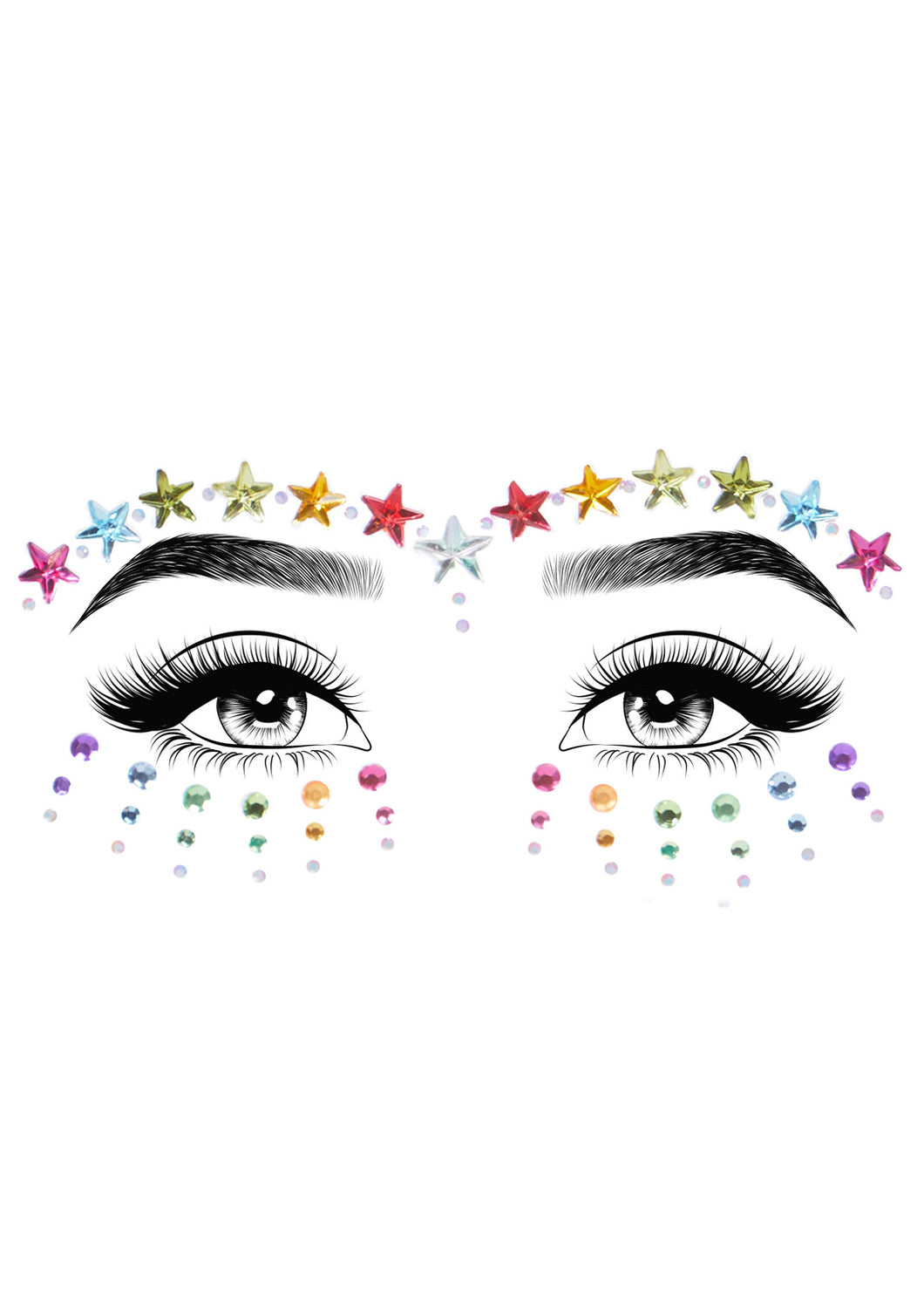 Multicolor Jovi Adhesive Face Jewels Sticker