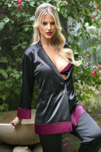 Load image into Gallery viewer, Black Marjorie Contrast Cuff Satin Blazer Jacket