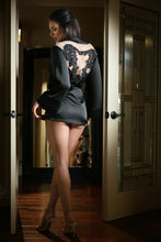Load image into Gallery viewer, Black Satin Doll Dressing Robe