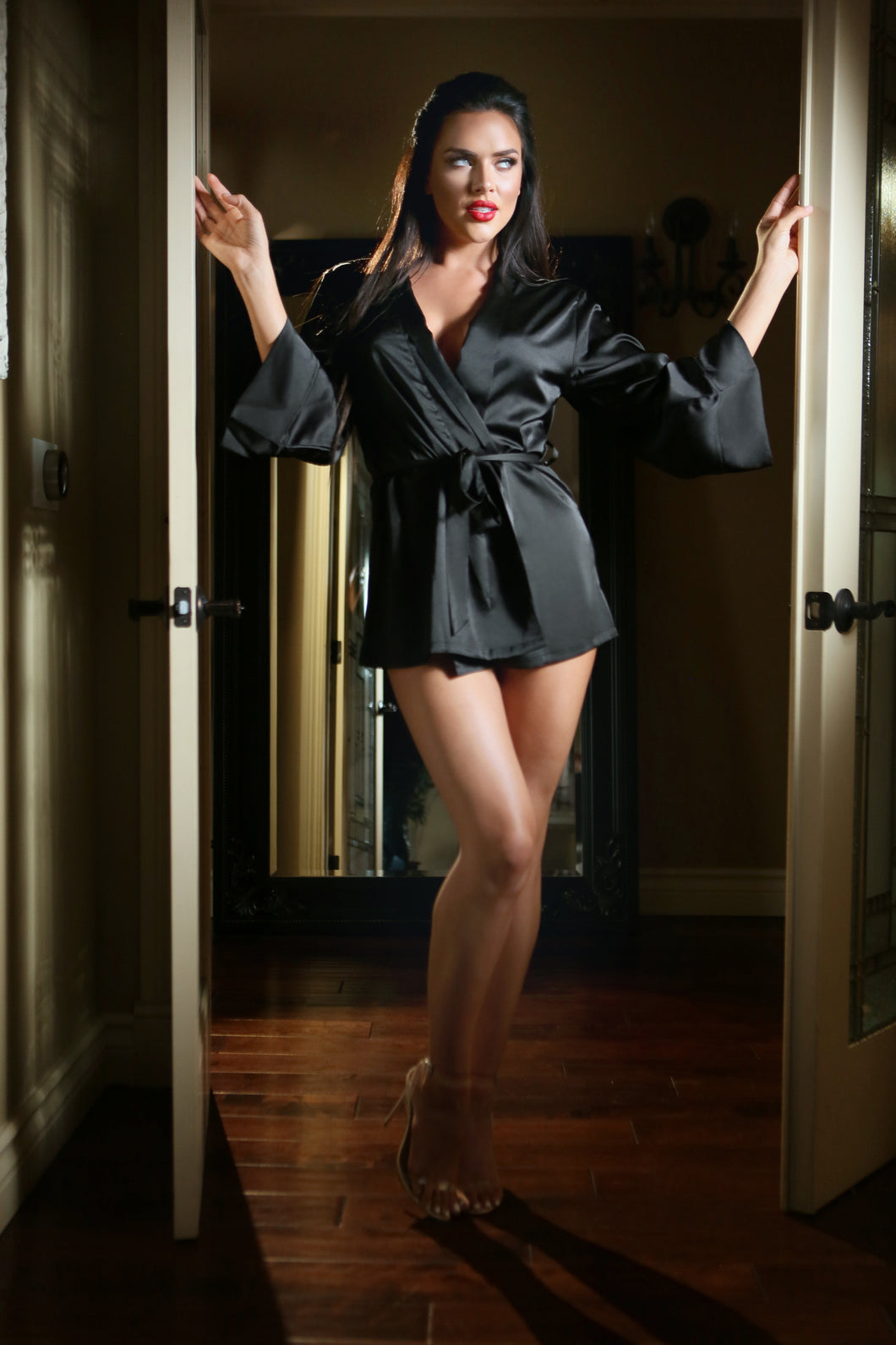 Black Satin Doll Dressing Robe