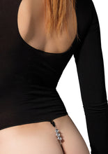 Load image into Gallery viewer, Black Becca Opaque Masked Teddy with Stimulating Beaded G-String