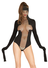 Load image into Gallery viewer, Black Prisca Opaque and Net Masked Teddy with Restraint Sleeves
