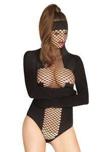 Black Prisca Opaque and Net Masked Teddy with Restraint Sleeves