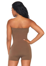 Load image into Gallery viewer, Tan Claudia Seamless Opaque Microfiber Strapless Romper