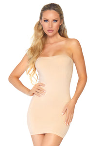 Nude Pearl Seamless Opaque Microfiber Bodycon Tube Dress