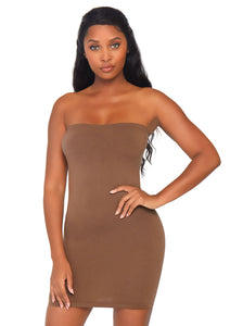 Tan Pearl Seamless Opaque Microfiber Bodycon Tube Dress