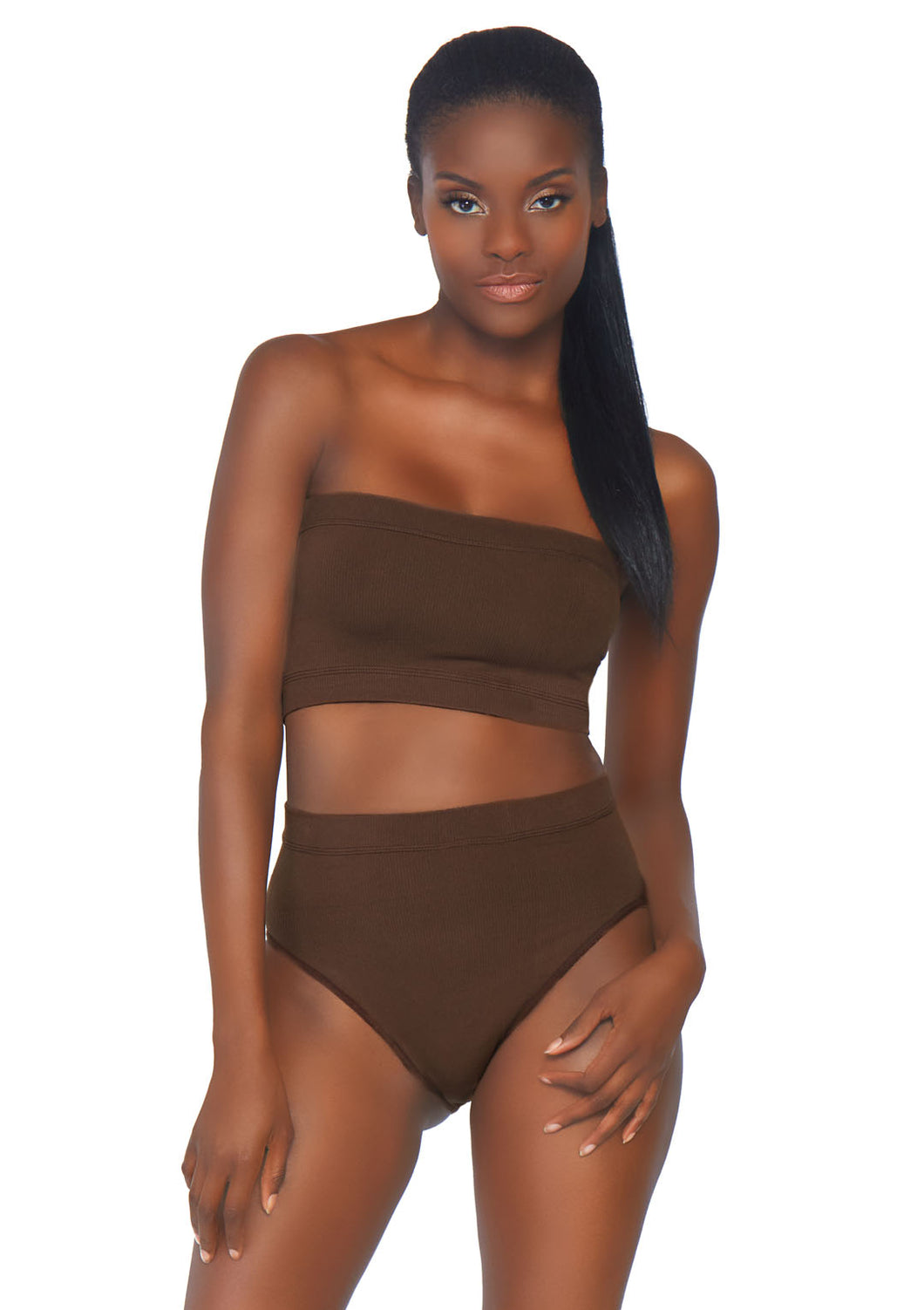 Deep Bernice 2 Piece Seamless Opaque Microfiber Ribbed Bandeau Top and High Waist Brief