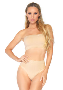 Nude Bernice 2 Piece Seamless Opaque Microfiber Ribbed Bandeau Top and High Waist Brief