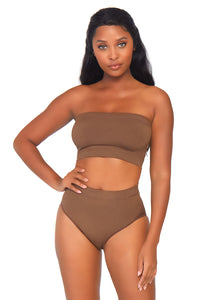 Tan Bernice 2 Piece Seamless Opaque Microfiber Ribbed Bandeau Top and High Waist Brief