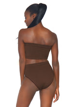 Load image into Gallery viewer, Deep Bernice 2 Piece Seamless Opaque Microfiber Ribbed Bandeau Top and High Waist Brief