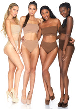 Load image into Gallery viewer, Nude Bernice 2 Piece Seamless Opaque Microfiber Ribbed Bandeau Top and High Waist Brief