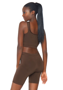 Deep Salome 2 Piece Seamless Opaque Spandex Crop Tank and Bike Shorts