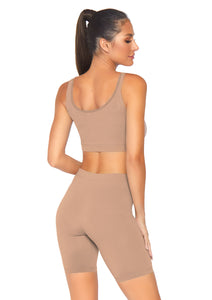 Medium Salome 2 Piece Seamless Opaque Spandex Crop Tank and Bike Shorts