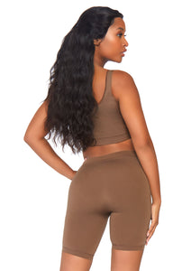 Tan Salome 2 Piece Seamless Opaque Spandex Crop Tank and Bike Shorts