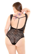 Load image into Gallery viewer, Black Claire Lace Crotchless Teddy