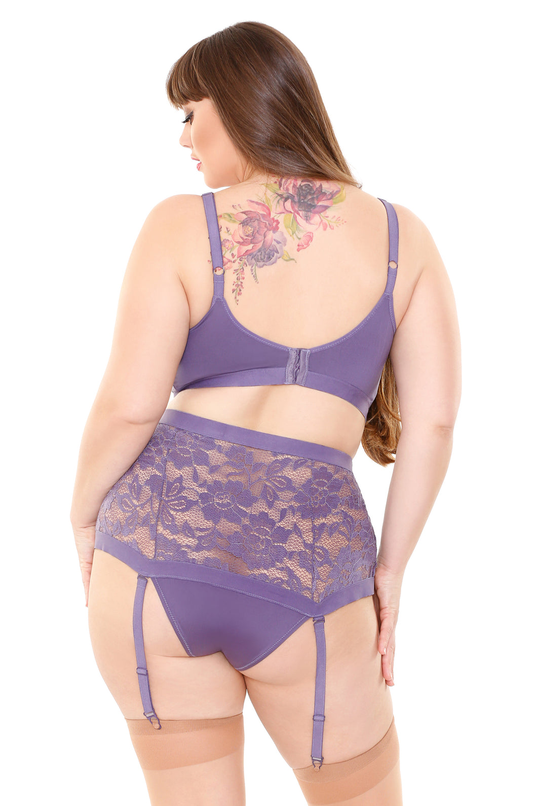 Periwinkle Monica Bra & High Waisted Gartered Panty