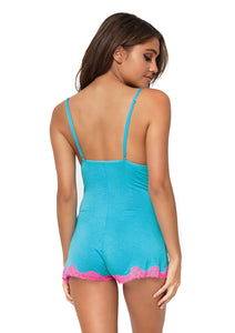 Turquoise Anna Brushed Jersey Lace Trimmed Boyshort Romper