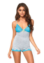 Load image into Gallery viewer, Gray Anna Brushed Jersey Lace Trimmed Boyshort Romper