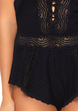 Load image into Gallery viewer, Black Abigail Lace Up Eyelet Romper with Swirl Lace Accents and Adjustable Straps