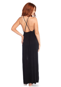 Black Leah Brushed Jersey and Lace High Slit Long Gown with Halter Harness