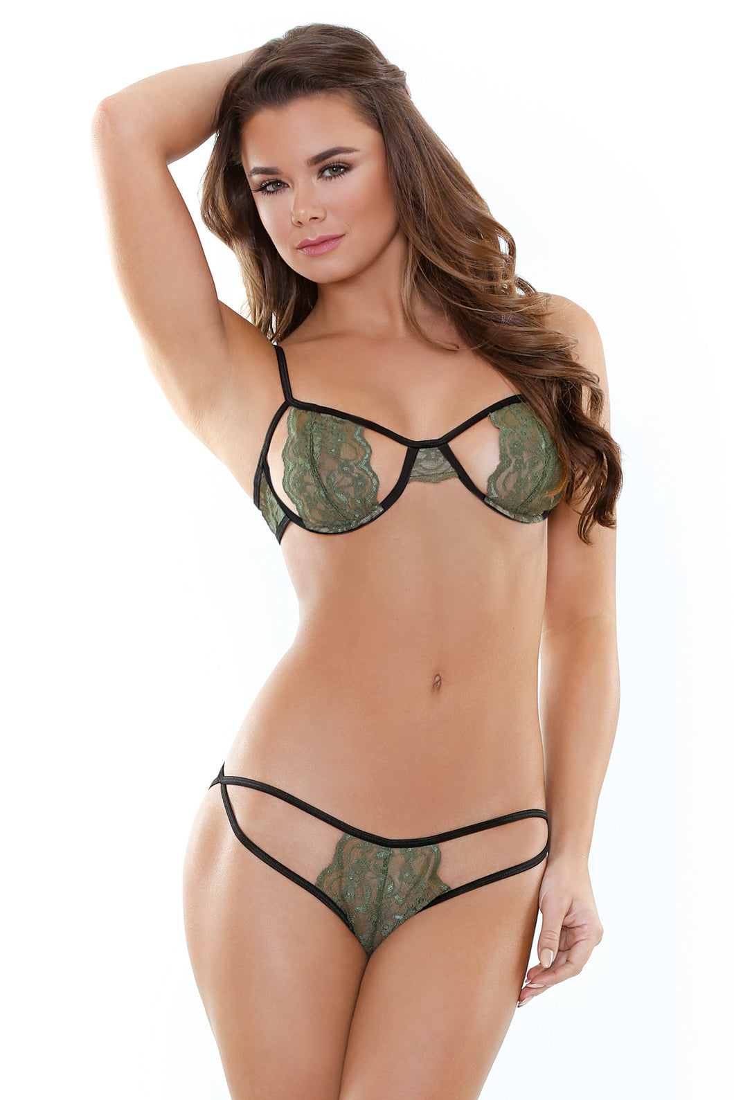 Olive Belle Stretch Lace Bra & Cutout Panty Set