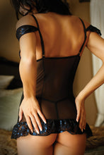 Load image into Gallery viewer, Black Bewitching Chemise & G-string