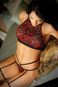 Red Love Potion Halter Bralette and Panty