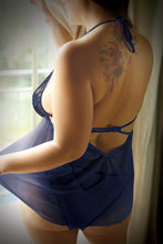 Load image into Gallery viewer, Navy Blue Naughty & Navy Babydoll & Panty - Queen Size