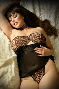Leopard Wild Thoughts Babydoll, Panty & Choker