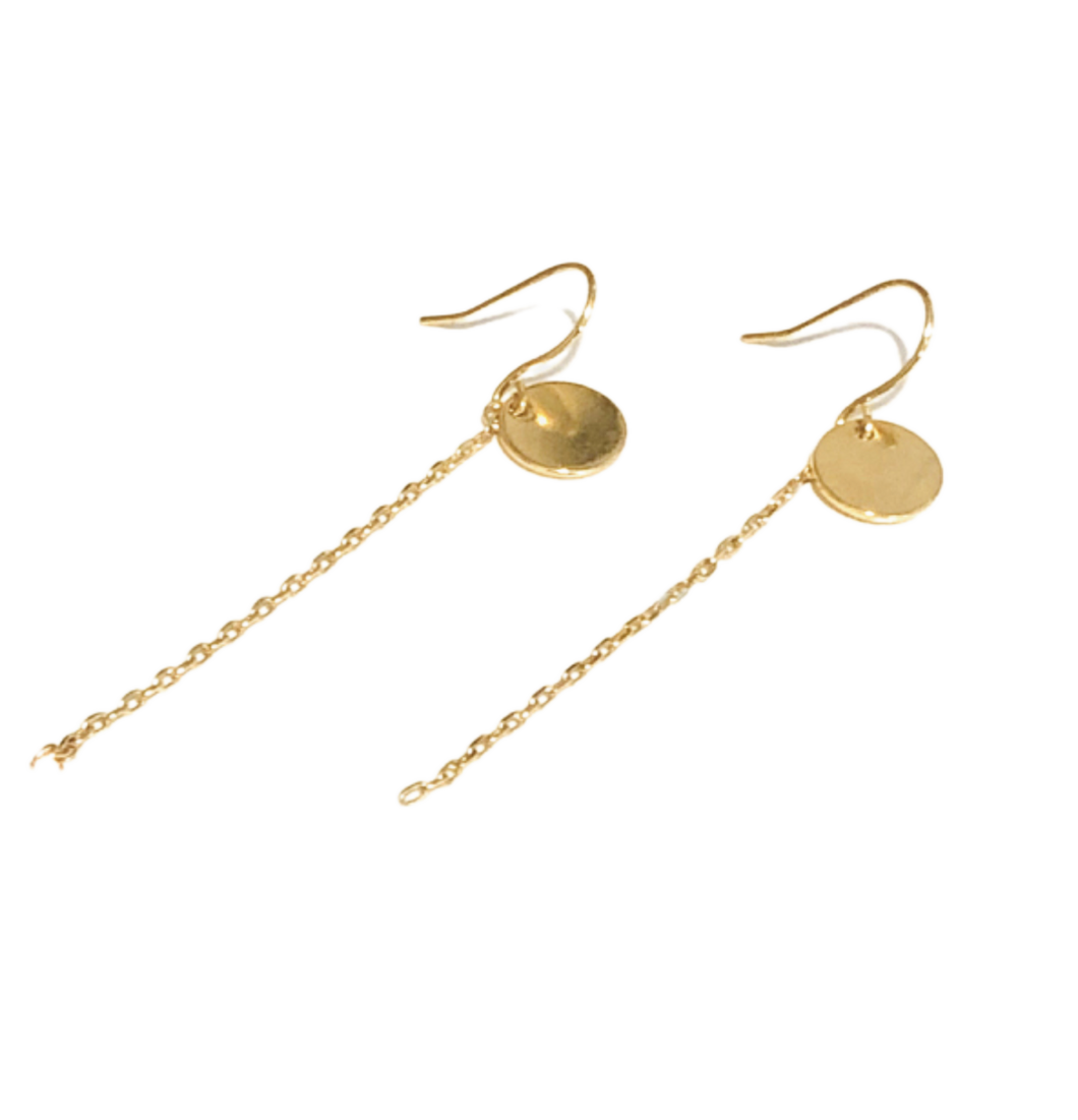 Gold Disc with Dangle Chain Earrings