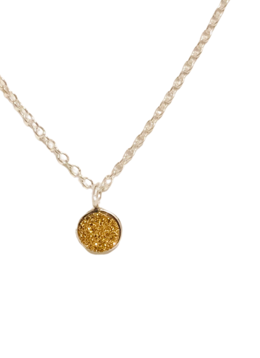 Gold Druzy Heart Necklace