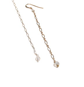 14kt Gold Filled Chain Earrings with Mini Crystal