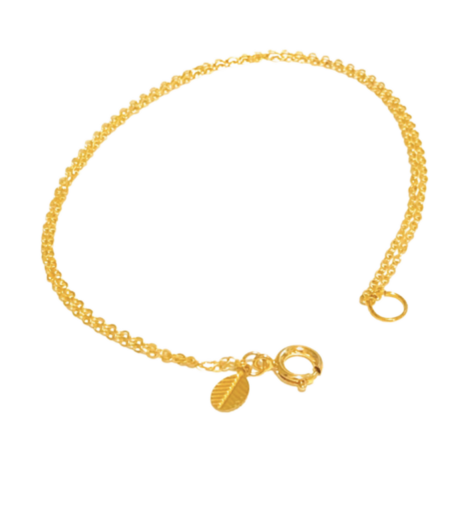 Gold Double Chain Anklet with Mini Leaf Charm
