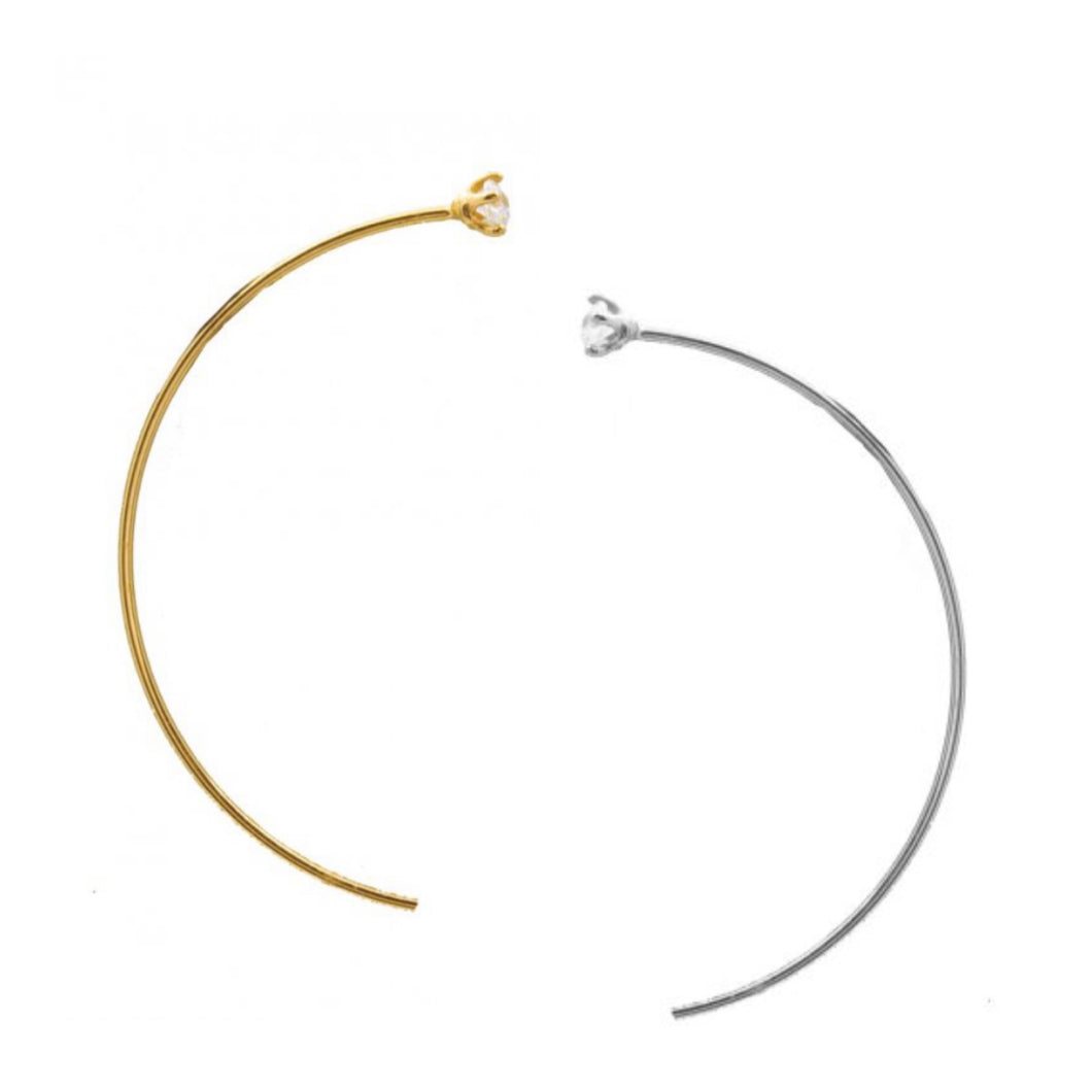 *Half Hoop Threader Earrings - 14KT Gold Sterling or Sterling Silver
