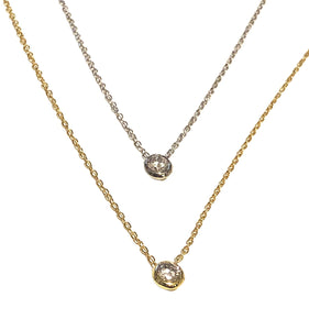 14kt Gold Plated & Sterling Silver Single Bezel Necklace