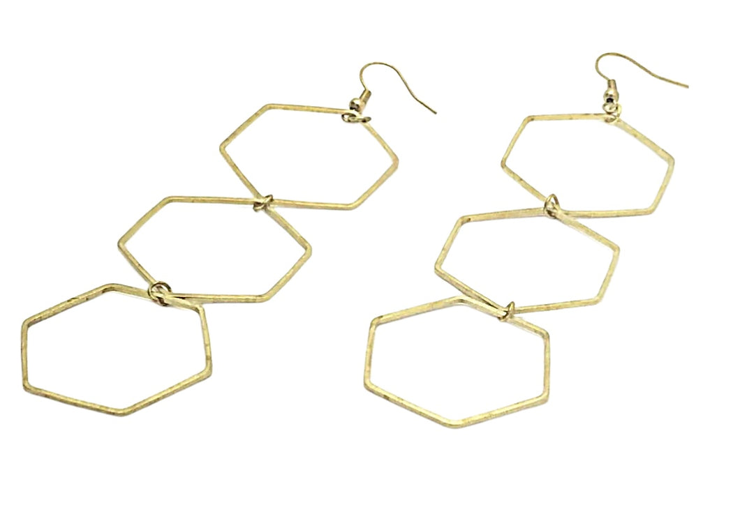 Gold Triple Honeybomb Earrings