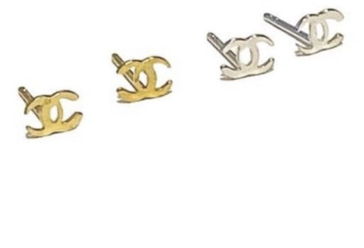 *Itty Bitty Tiny CC Studs - Gold or Sterling Silver