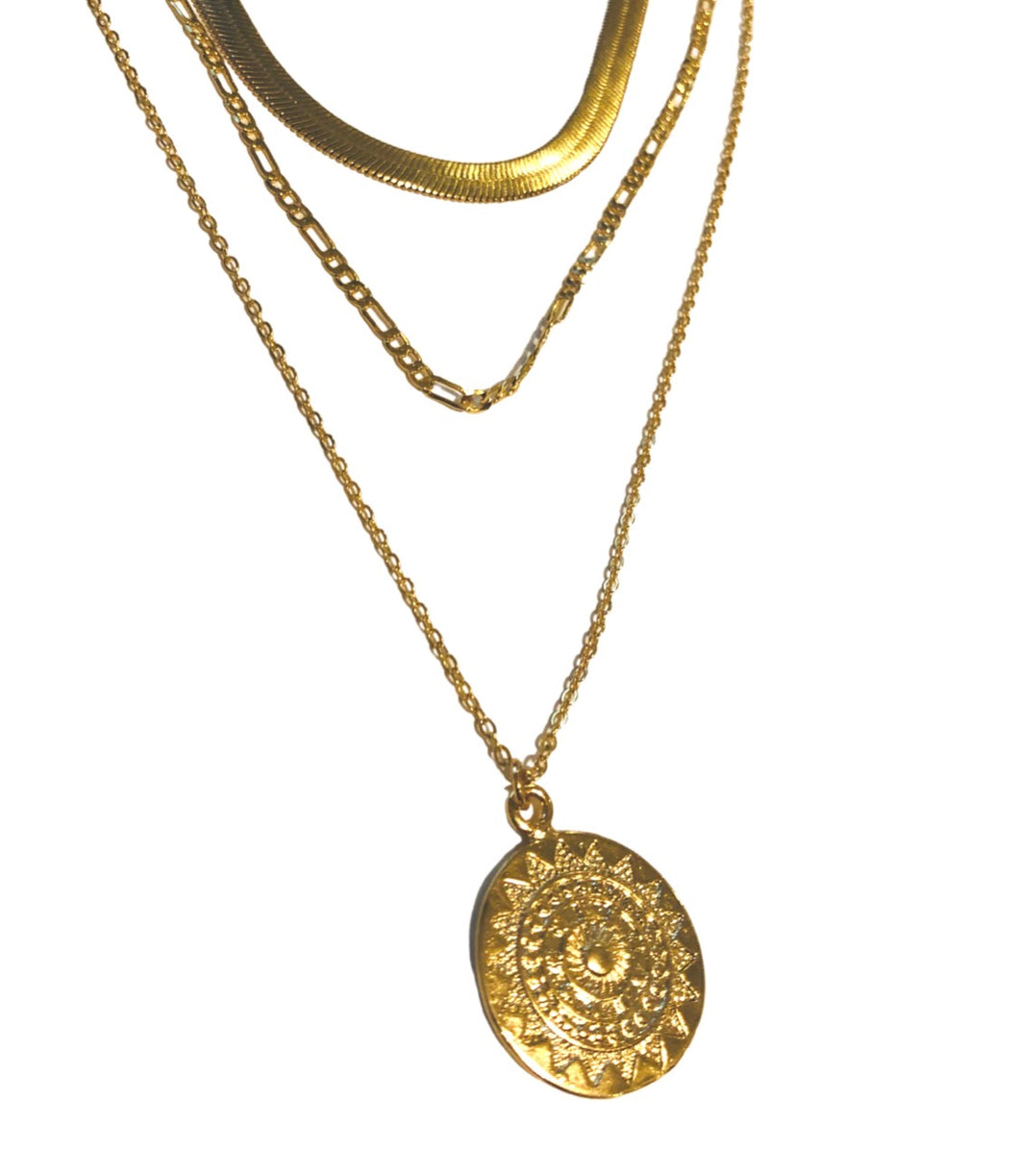 14KT Gold Plated Sterling LG Herringbone Necklace