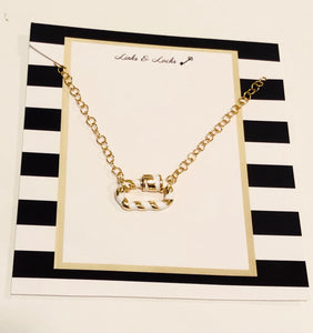 Gold White Stripe C Link Choker Necklace