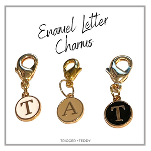 *Add on Charm - Enamel Initial Charms - Black, White or Latte