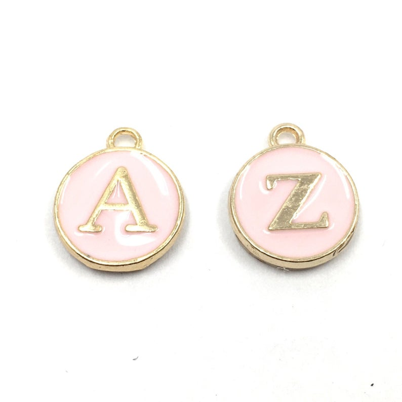 Add On - Enamel Letter Charms - Pink or Blue - for collars or necklaces