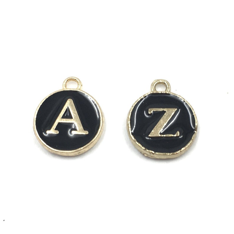 Add on - Enamel Letter Charms - Black, White or Latte - for Collars or Necklaces