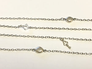Silver Pebble and Crystal Necklace ~ Long