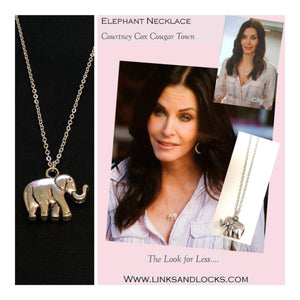 Elephant Necklace Cougar Town Necklace Courtney Cox Elephant Necklace - Links and Locks Designs
