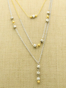 Silver and Gold 3 Chain Chocker Necklace with Geo Squares and Round Gold Balls - Links and Locks Designs