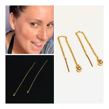 Load image into Gallery viewer, 14kt Gold Filled Threader Earrings with Gold Ball