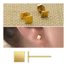 Load image into Gallery viewer, *Simple Square Stud Earrings - Sterling Silver